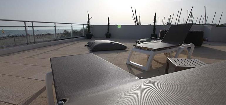 Terrasse d'un appartement de la résidence Côté Mer.